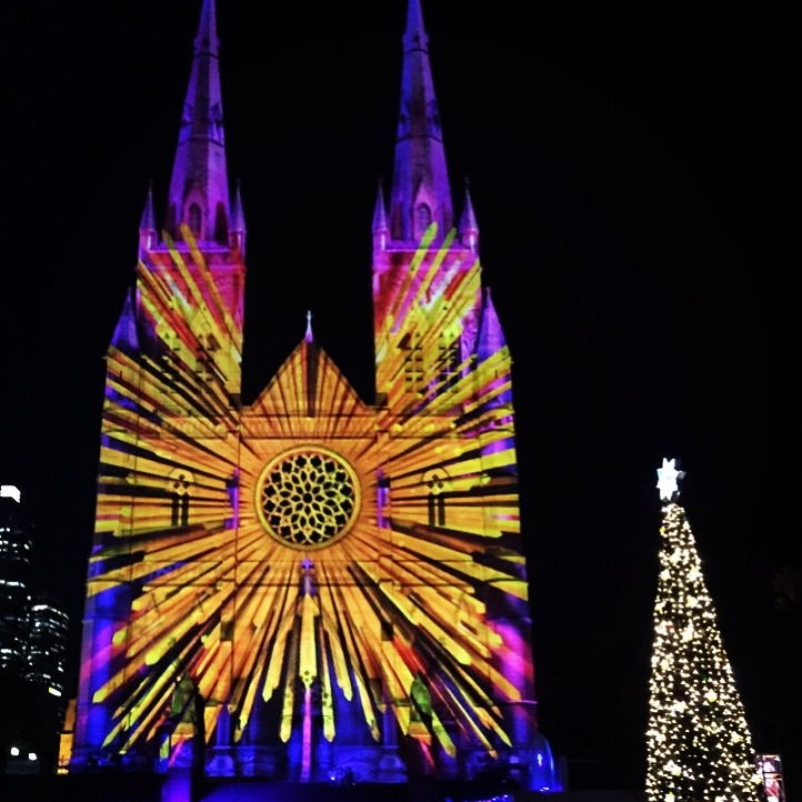 Above: the Lights of Christmas projections at St Mary's Cathedral. Credit: CAS/Giovanni Portelli