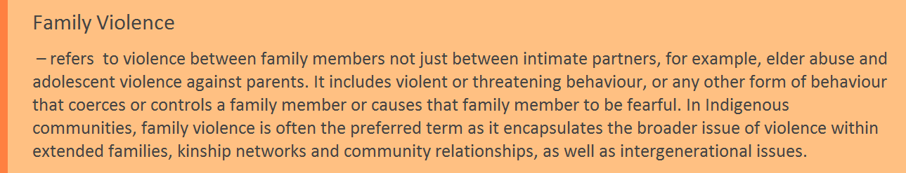 Definition colour tab Definition Family Violence
