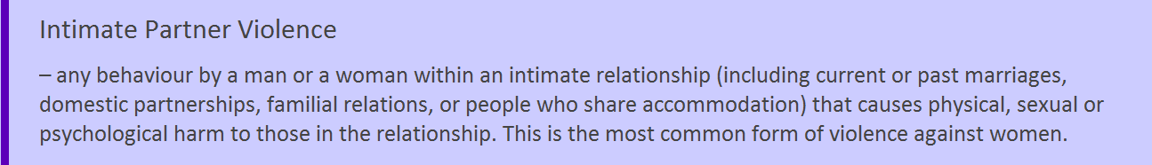 Definition colour tab Intimate Partner Violence